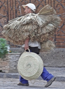 Travelling salesman with his brooms and brushes