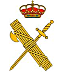 Fascist rods and axe in the background, royal crown of Spain above. And a sword